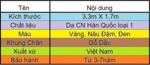 Bảng mô tả thông tin Sofa Da Phòng Khách Cao Cấp N17