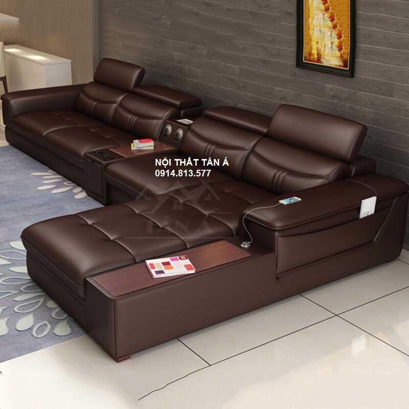 Sofa Da Phòng Khách Cao Cấp N17 - màu nâu đậm