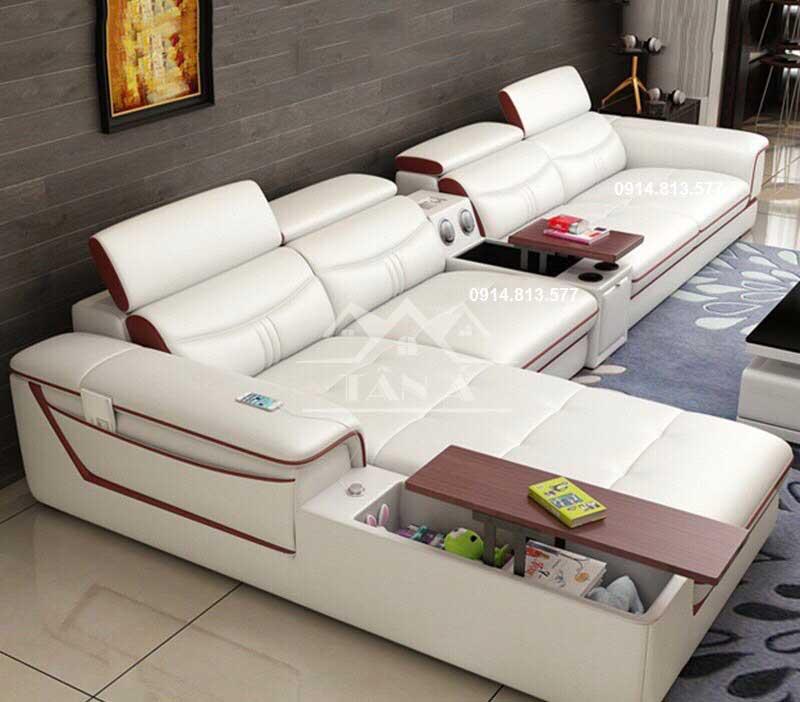 Sofa Da Phòng Khách Cao Cấp N17 màu trắng
