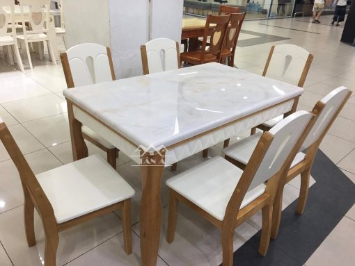bộ bàn ăn mặt đá nhập khẩu đài loan BA-02