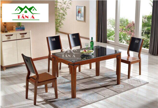 bộ bàn ăn mặt kính 4 ghế BA08