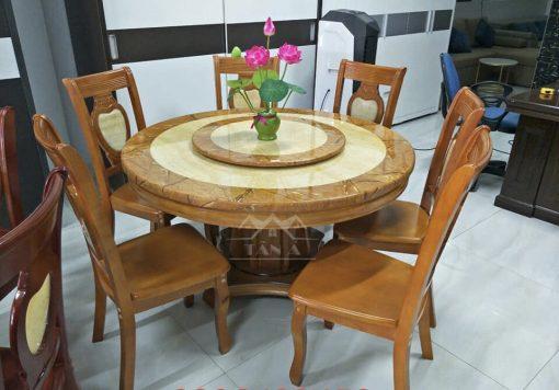 bộ bàn ăn mặt tròn gỗ sồi 6 ghế nhập khẩu đài loan