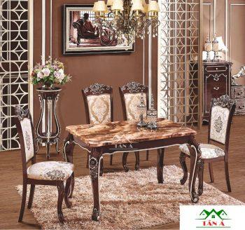 bộ bàn ăn 6 ghế mặt đá tân cổ điển giá rẻ