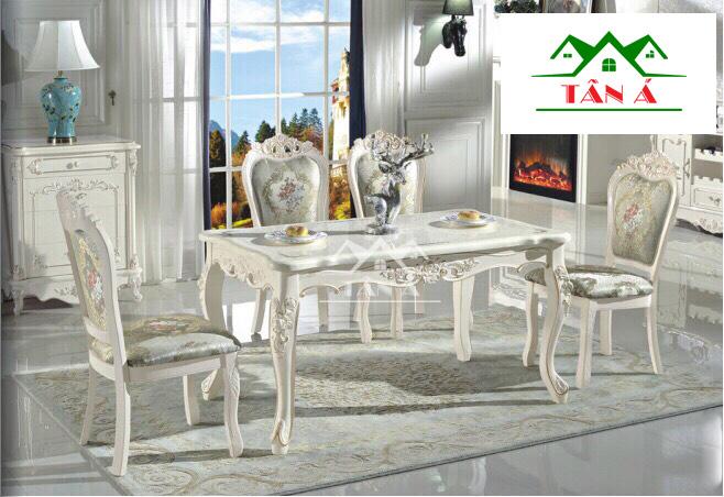 bàn ăn mặt đá gỗ sồi 4 ghế giá rẻ tphcm