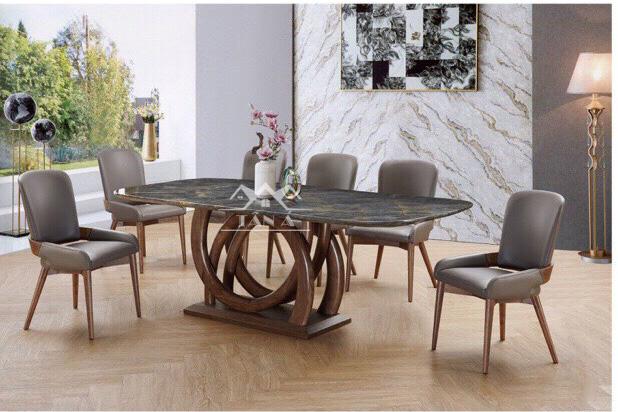 bộ bàn ăn 6 ghế gỗ sồi BA-34