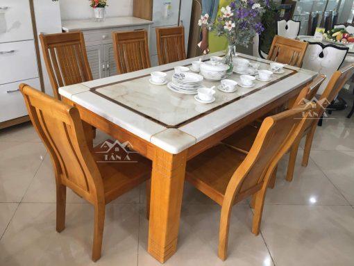 bộ bàn ăn gỗ cao su 6 ghế giá rẻ