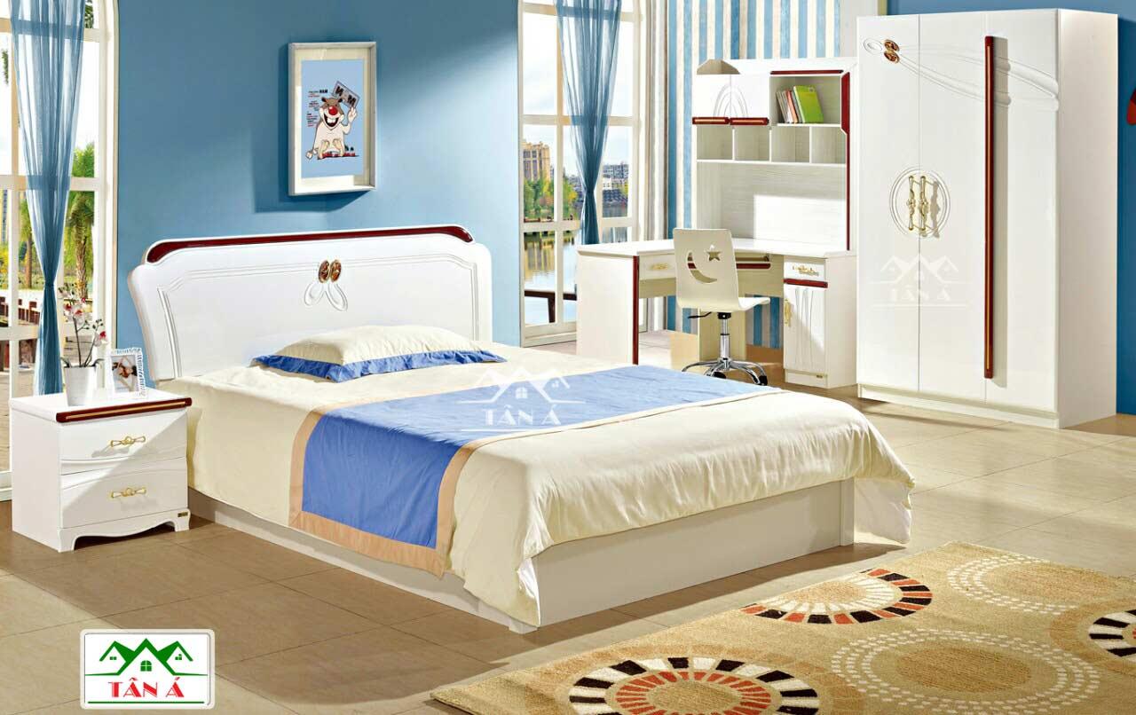 giường ngủ màu trắng đẹp hiện đại