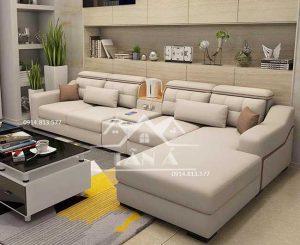 Sofa vải góc màu trắng nude