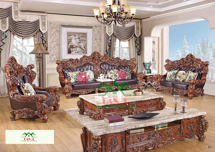 bộ ghế sofa tân cổ điển da bò thật nhập khẩu đài loan, sofa da bò thật