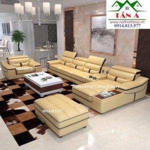 Sofa da phòng khách đẹp hiện đại