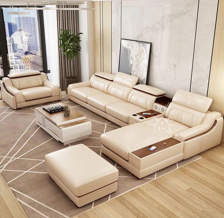 bộ sofa da phòng khách chung cư đẹp hiện đại