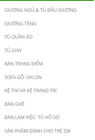 Bảng thông tin nội thất Lam Sơn