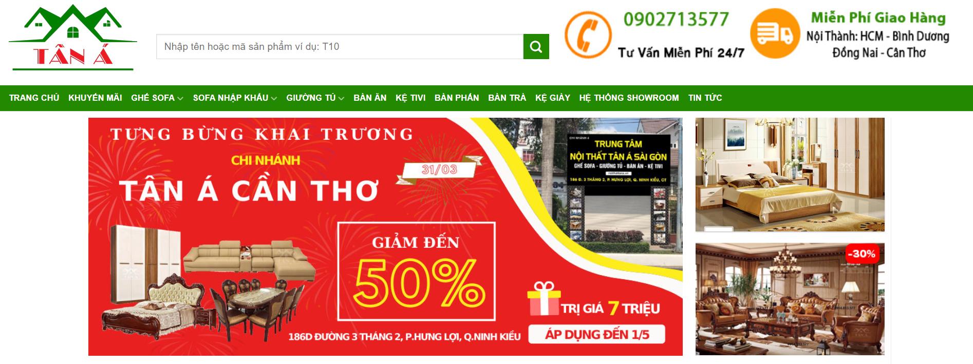 Trang chính đại diện Website của Tân Á
