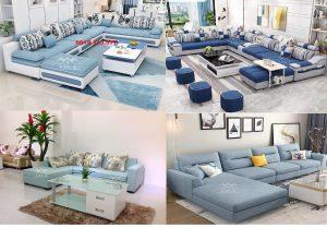 Sofa vải góc màu xanh dương