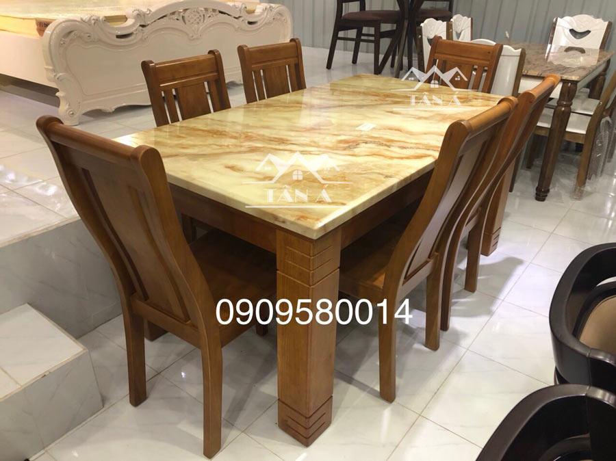 bộ bàn ăn gỗ sồi 6 ghế BA49