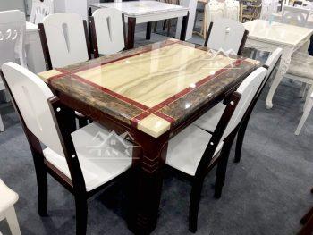 bộ bàn ăn mặt đá gỗ sồi nhập khẩu đài loan BA43