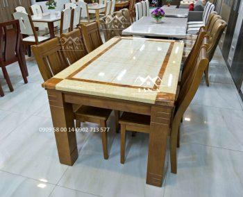 bộ bàn ăn mặt đá 6 ghế gỗ sồi