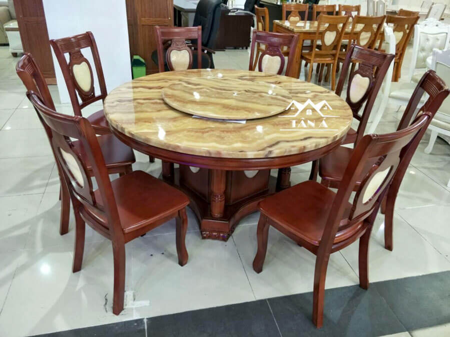 Bàn ăn mặt đá 8 ghế gỗ sồi nhập khẩu đài loan
