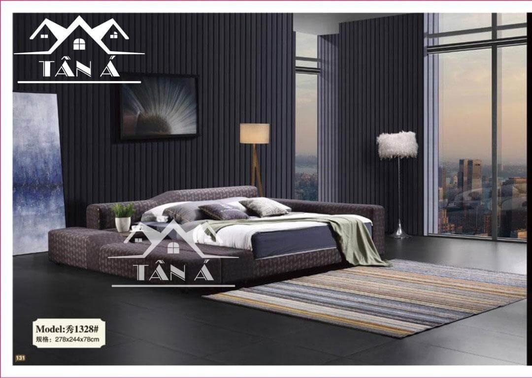 Giường ngủ bọc vải có khung gỗ sồi cao cấp