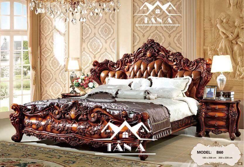 Giường ngủ tân cổ điển nhập khẩu khung gỗ sồi
