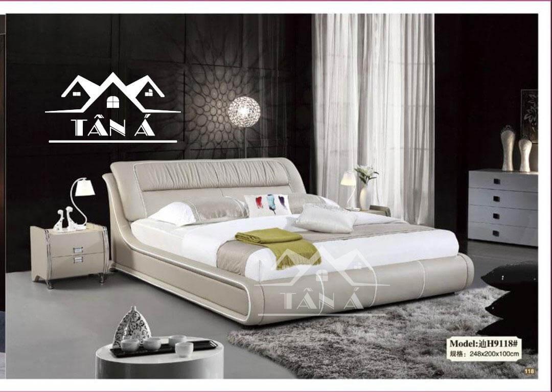 Giường ngủ bọc da có khung gỗ tự nhiên mẫu mới 2020