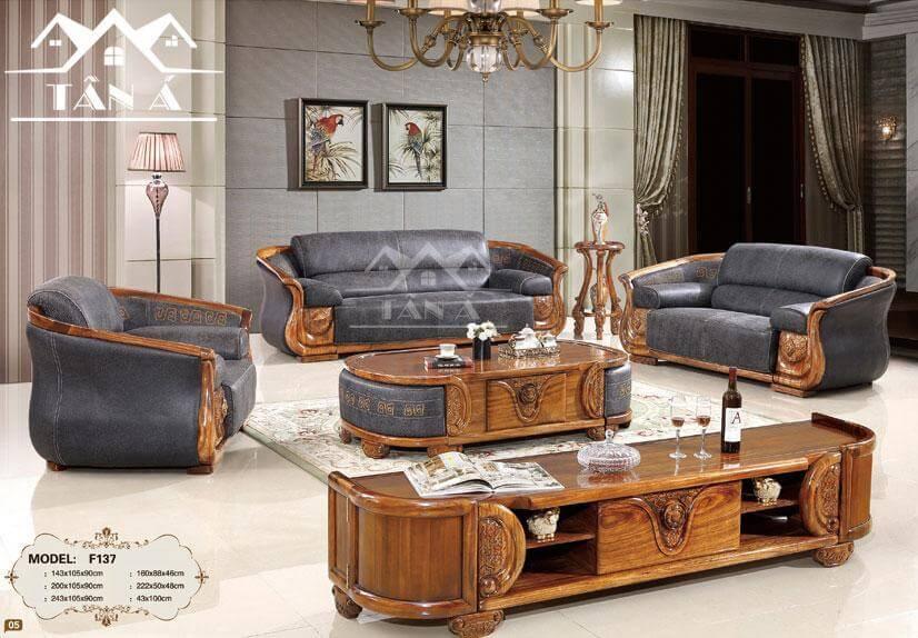 bộ bàn ghế sofa gỗ mun