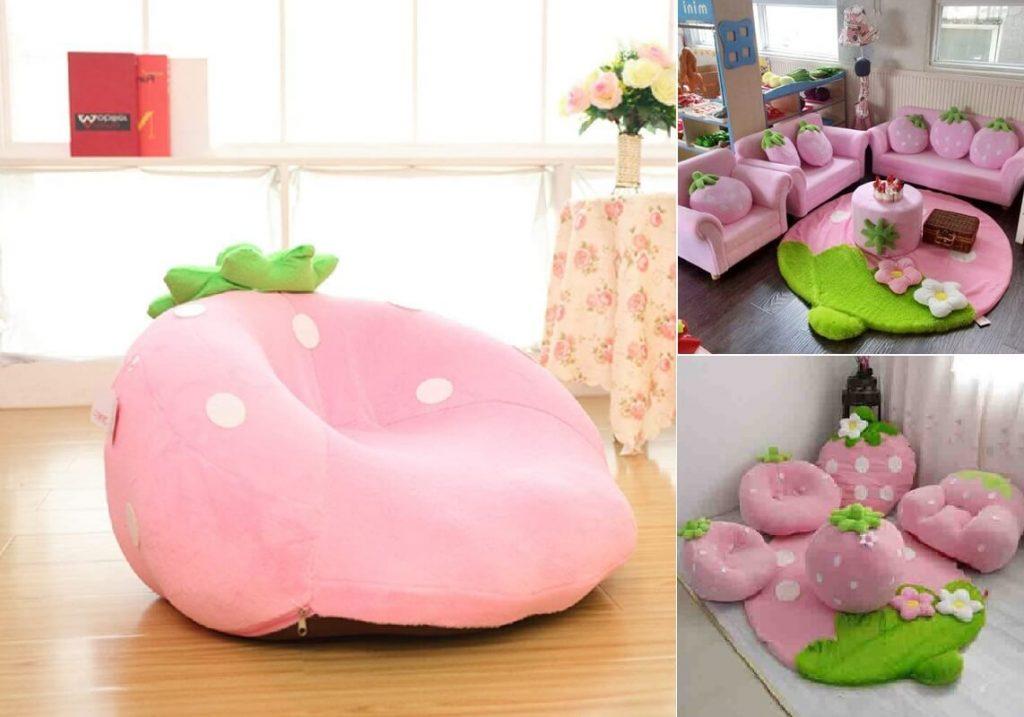 Mẫu ghế sofa màu hồng siêu dễ thương cho bé gái