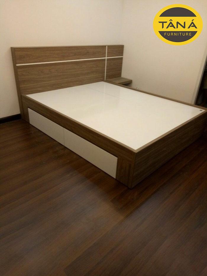 giường gỗ công nghiêp có học kéo