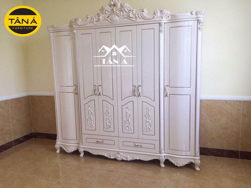 Tủ quần áo gỗ công nghiệp phong cách tân cổ điển trắng