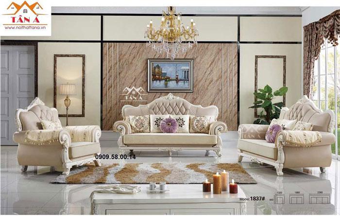 sofa vải nỉ tân cổ điển