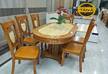 bàn ăn oval 6 ghế gỗ sồi nhập khẩu