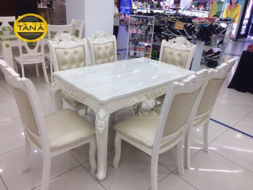 bộ bàn ăn tân cổ điển 6 ghế