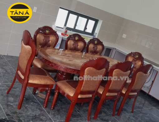 bộ bàn ăn 8 ghế tân cổ điển