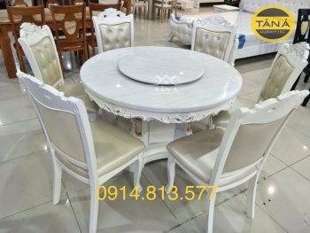 bộ bàn ăn tròn 6 ghế gỗ sồi