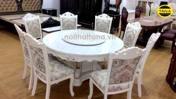 bàn ăn tròn 8 ghế tân cổ điển