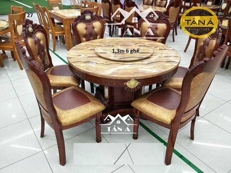 bàn ăn tròn mâm xoay 6 ghế