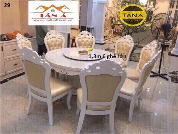 bàn ăn nhập khẩu mâm xoay 6 ghế