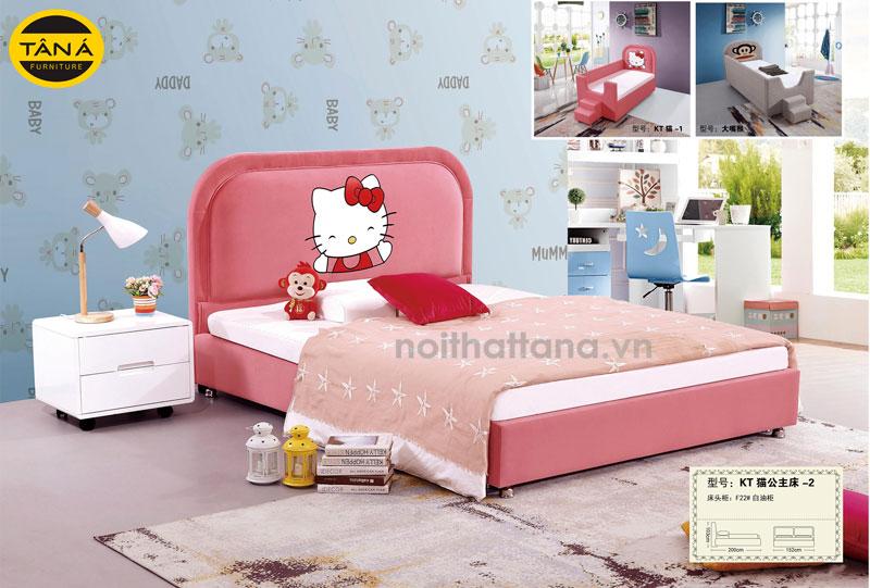 bộ giường ngủ màu hồng cho bé gái