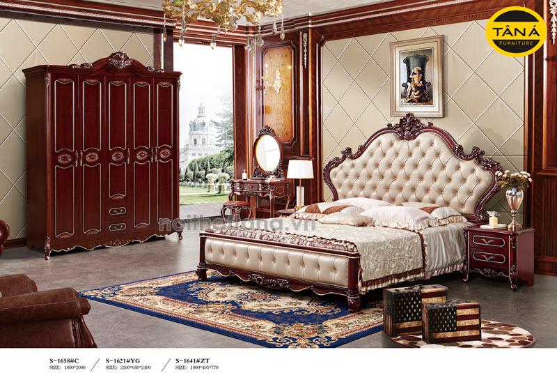 combo giường tủ tân cổ điển bàn phấn nhập khẩu đài loan