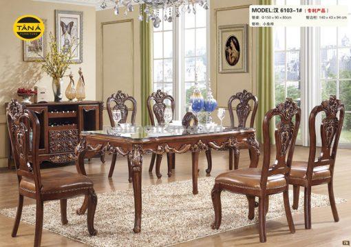 bàn ăn nhập khẩu 6 ghế