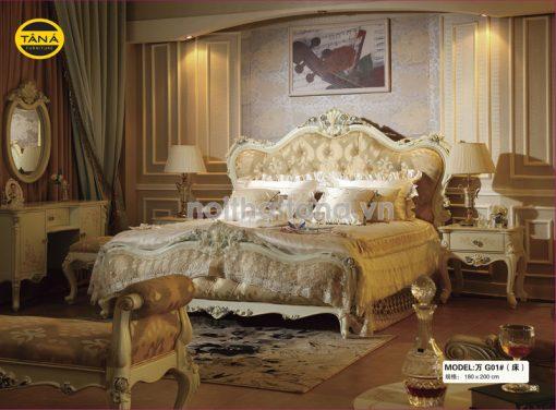 bộ giường tủ tân cổ điển nhập khẩu cao cấp TA-G01