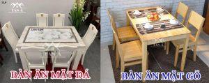 nên mua bàn ăn mặt đá hay gỗ